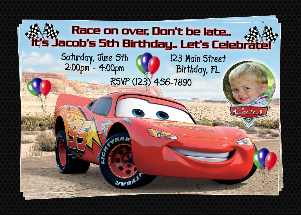 Disney Cars Birthday Party Diy Image Inspiration of Cake and – Disney Cars Birthday Invites