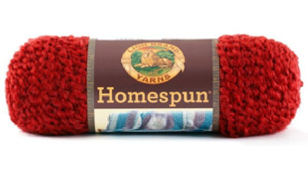 Homespun Yarn : lion brand homespun yarn 375 CANDY APPLE heathered solid deep red 6 ...