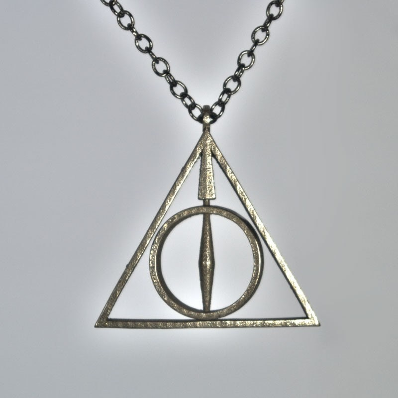stainless steel deathly hallows necklace with by niquegeek