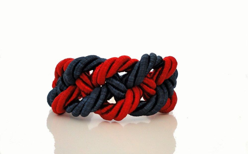 Navy Blue Red Nautical Braided Rope Bracelet - ChichiKnots