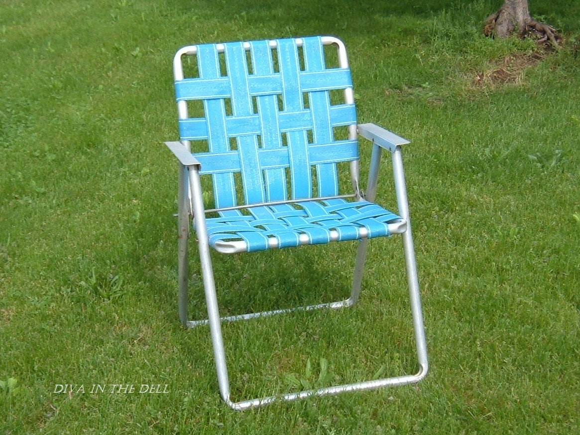 Vintage aluminum lawn chair with blue webbing by divainthedell for Lawn chair webbing