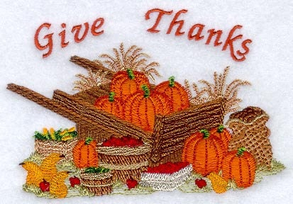 Give Thanks, Harvest Bounty with Wheelbarrow, Embroidered Quilt Block for Your Creative Project - AliDianneCreations