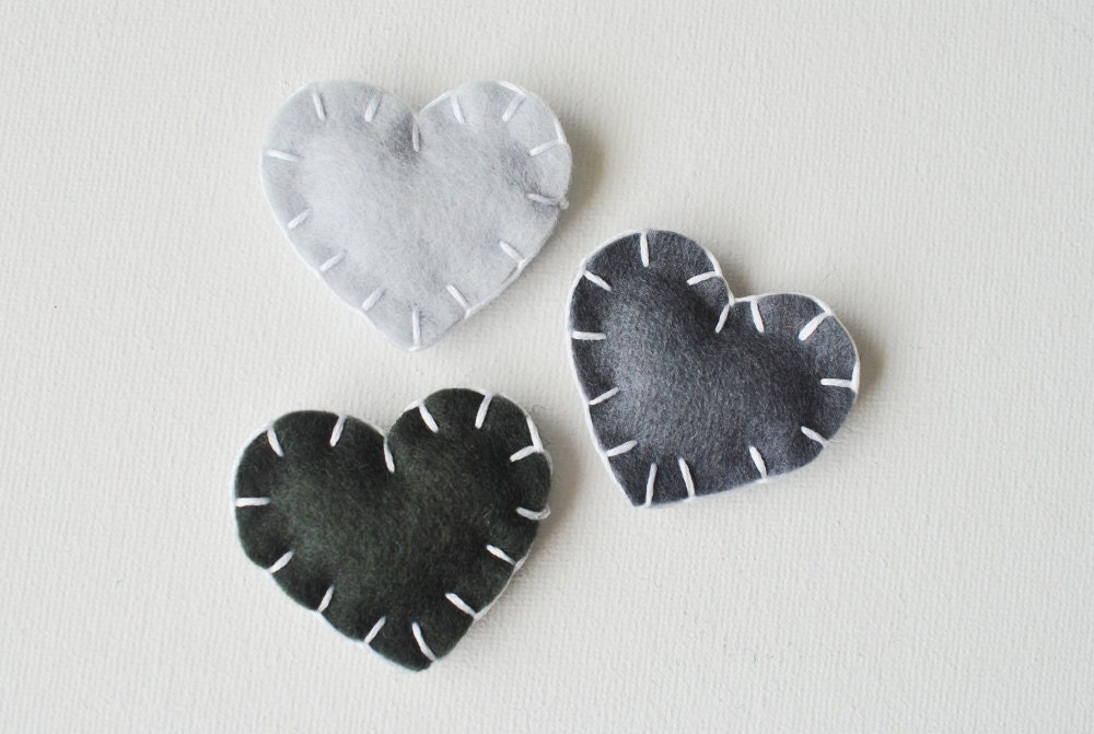 "Black Ombre Heart Magnets in ""Charcoal"" - Set of 3 Wool Felt Magnets - Love Grey Gradient - Wedding Favors - whatnomints"
