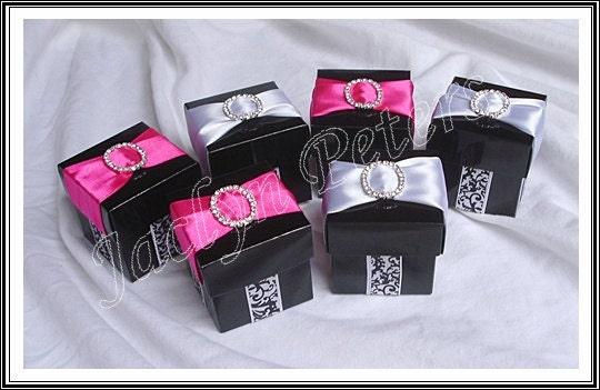 36 Black White Damask Hot Pink ,Rhinestone Buckle Wedding, Shower Favor Box