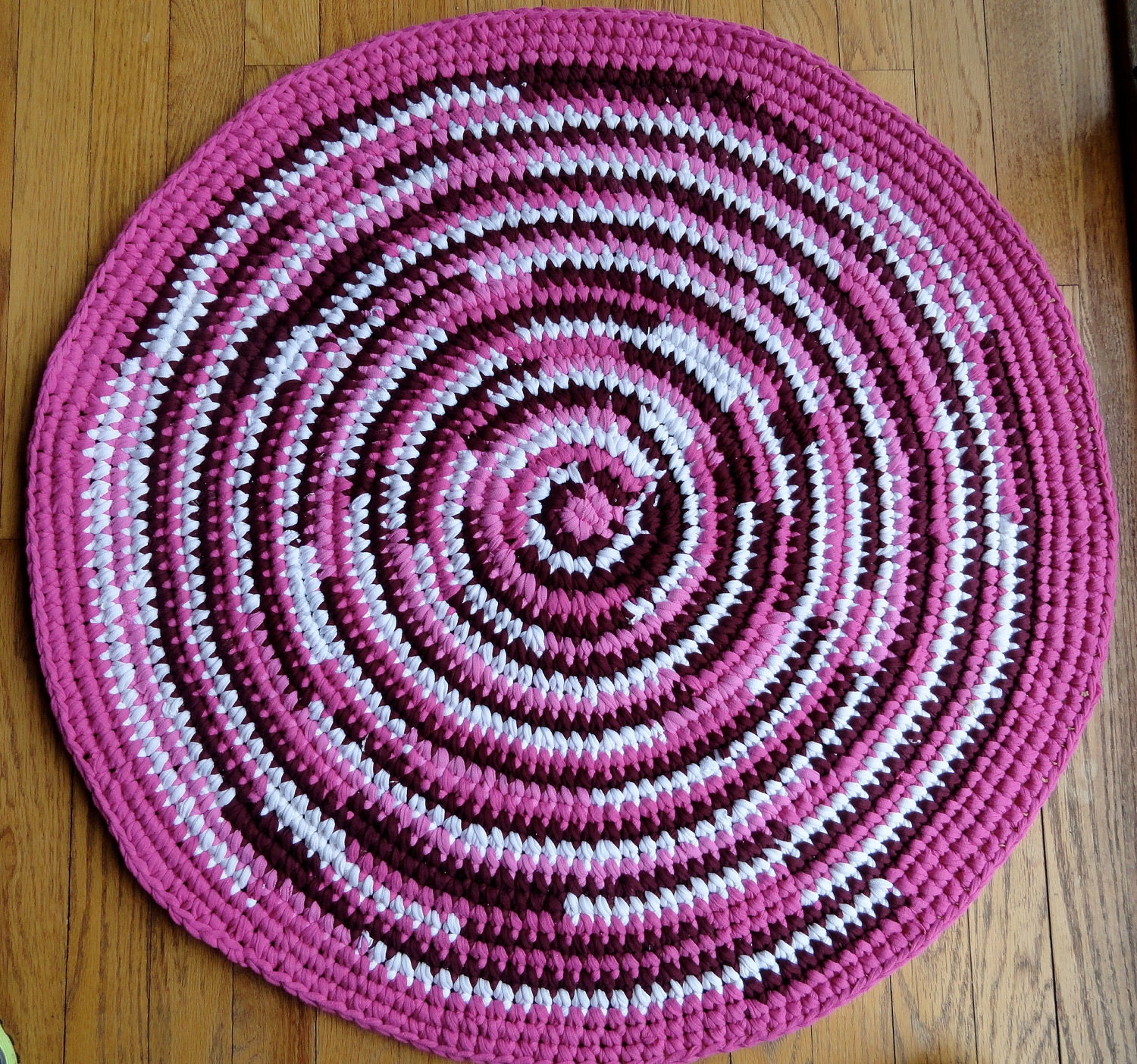 Round Rag Rug From Recycled T Shirts In Pink By