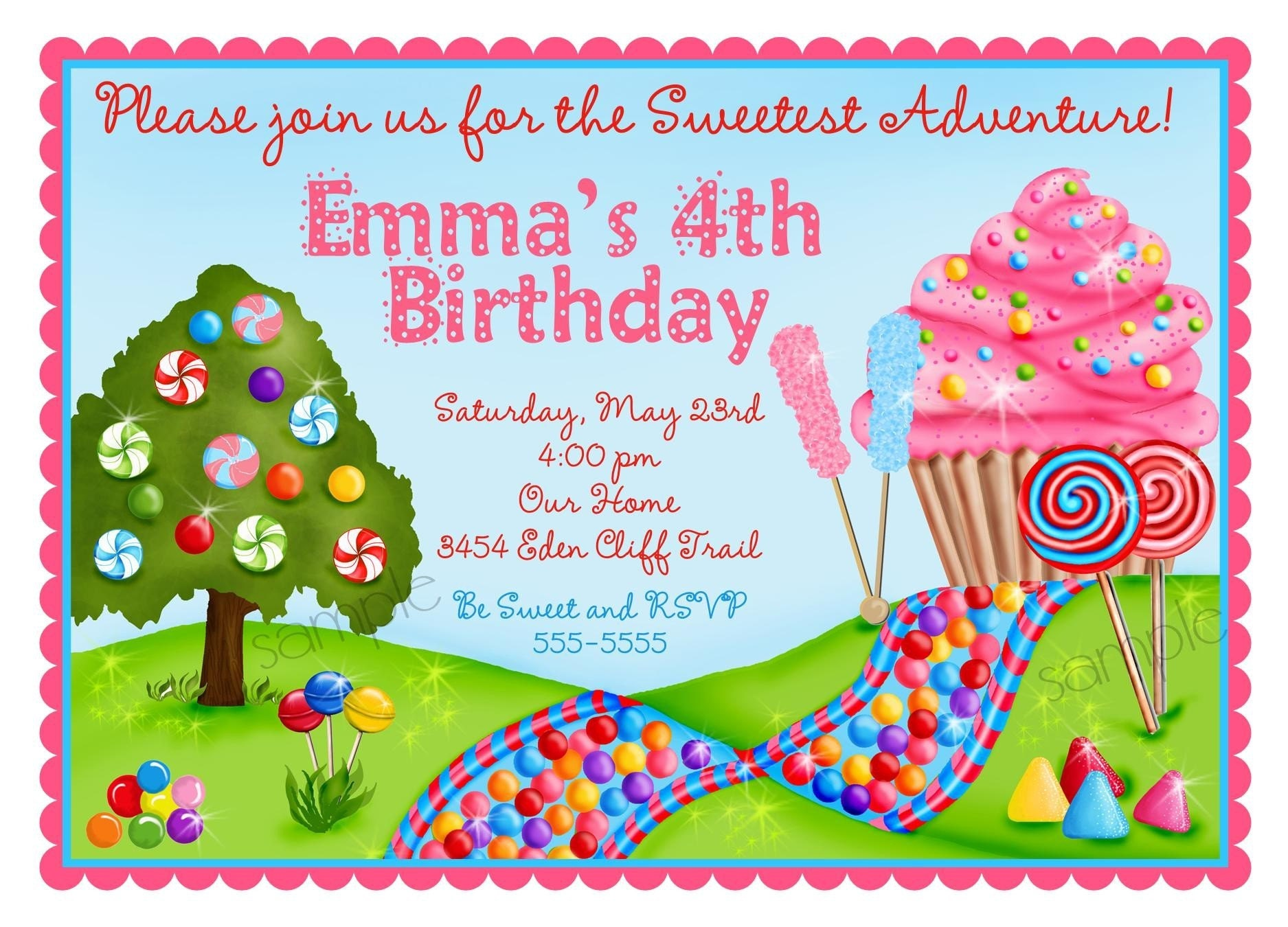 Candyland Birthday Invitations and get inspiration to create nice invitation ideas