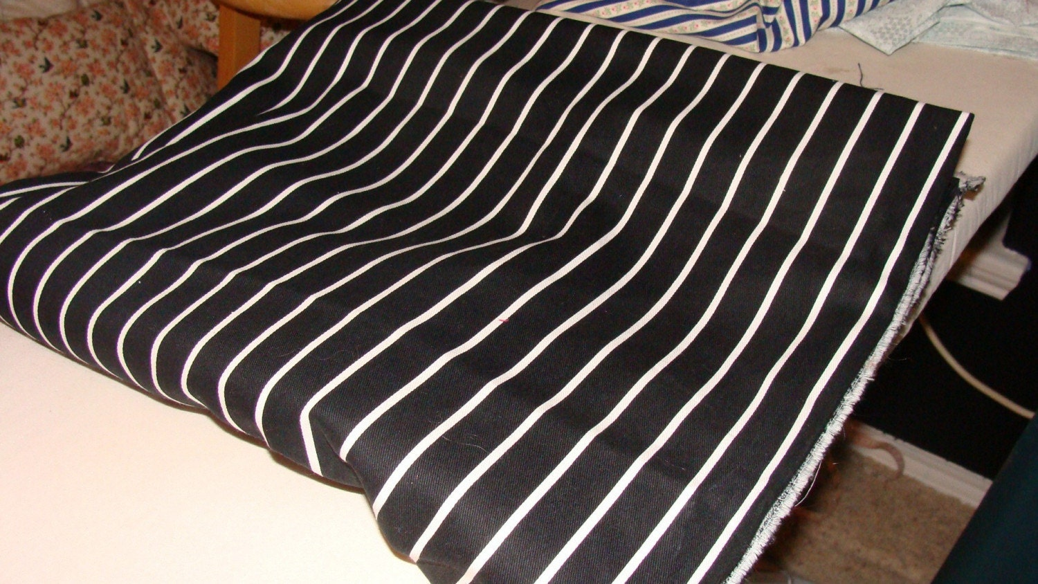 Black And White Striped Canvas Fabric By Cococouture On Etsy