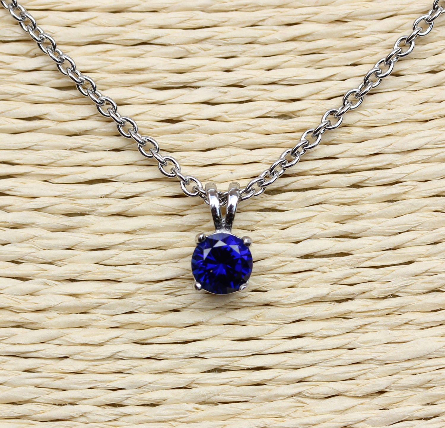 Natural Blue Sapphire Pendant Necklace  4mm 5mm 6mm and 7mm sizes  Available in white gold or titanium
