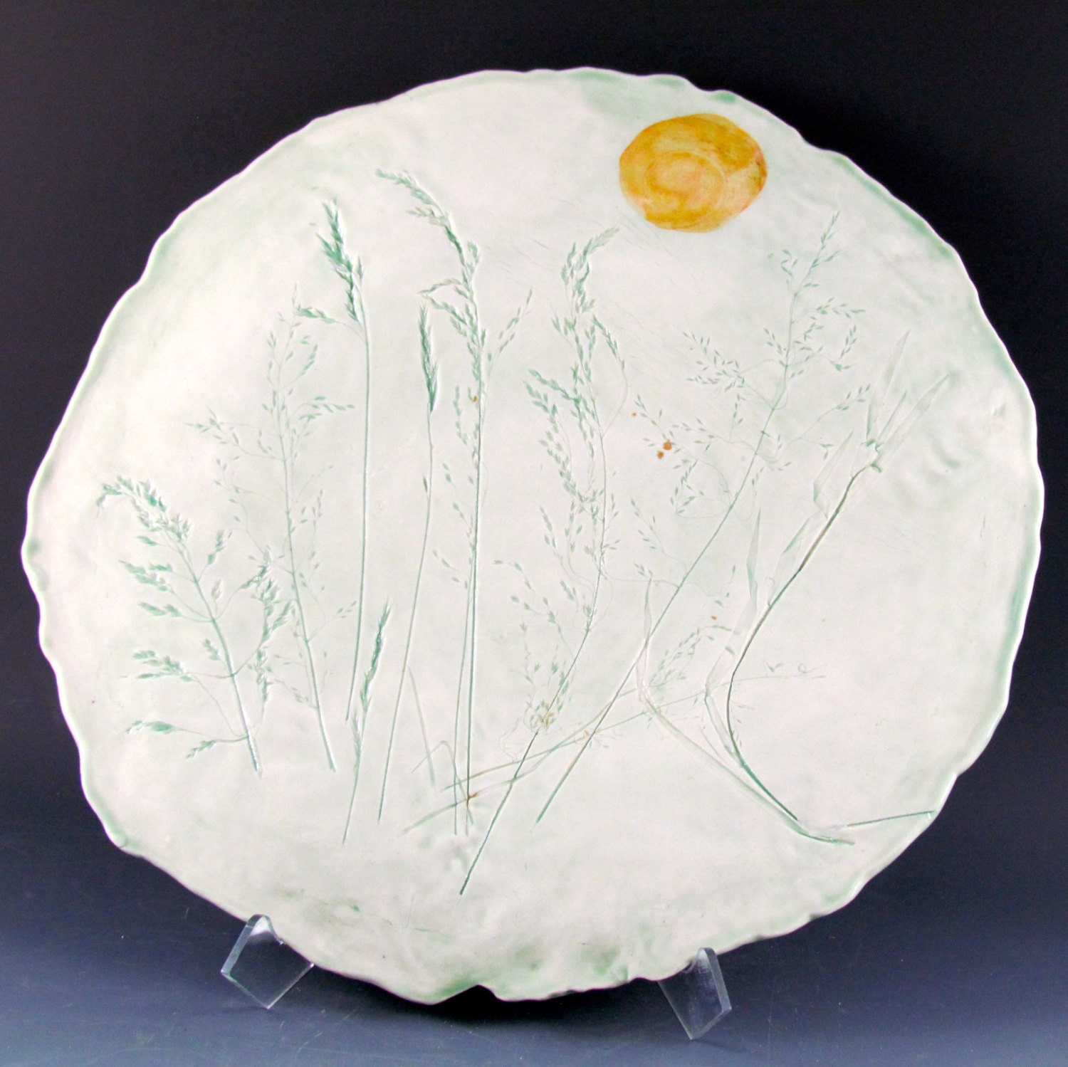 1 x 12 inch plate with inlaid grasses