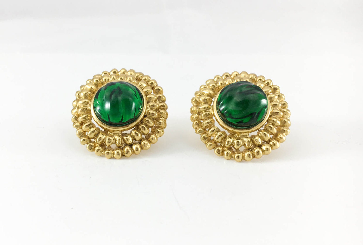 Yves Saint Laurent Emerald Green Gripoix GoldPlated Earrings  1980s