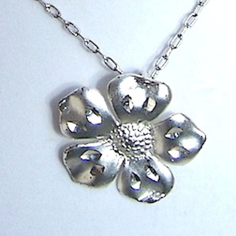 Vintage Sterling Silver Jewelry Pansy Flower Floral Pendant - ParisRain