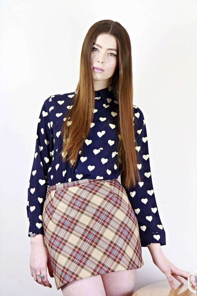 navy heart print blouse