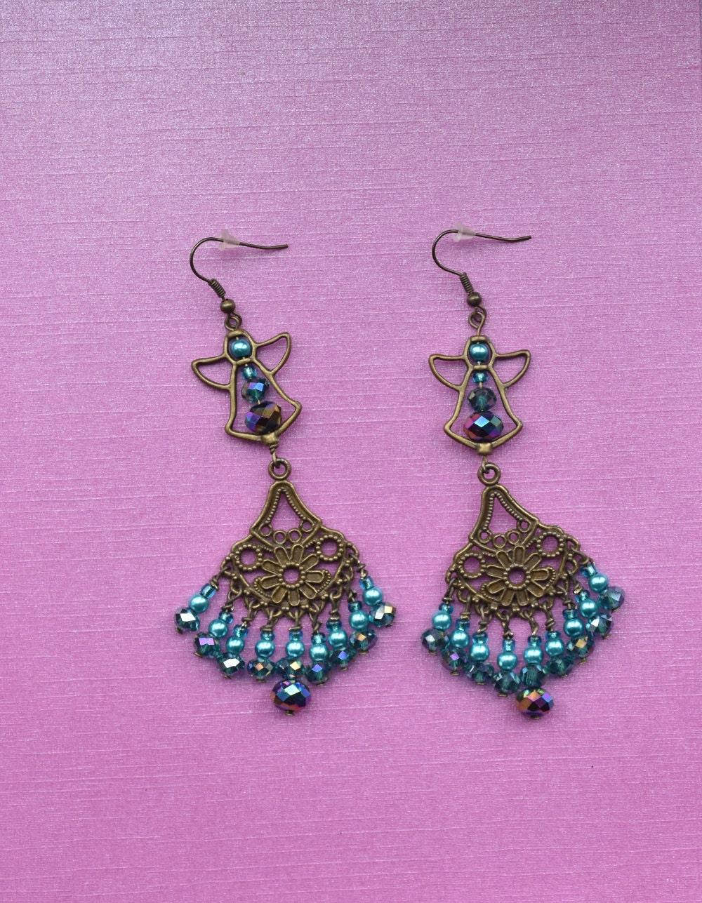 Green blue pearl  crystal angel bead bronze gold statement dangle drop earrings bridesmaid jewellery vintage jewelry earrings for women