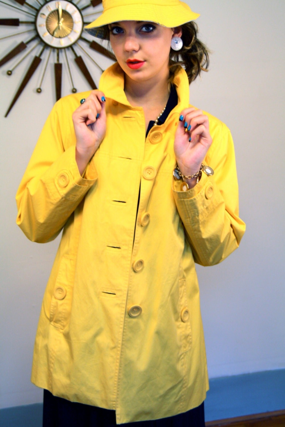 vintage 90s bright yellow coat cotton by