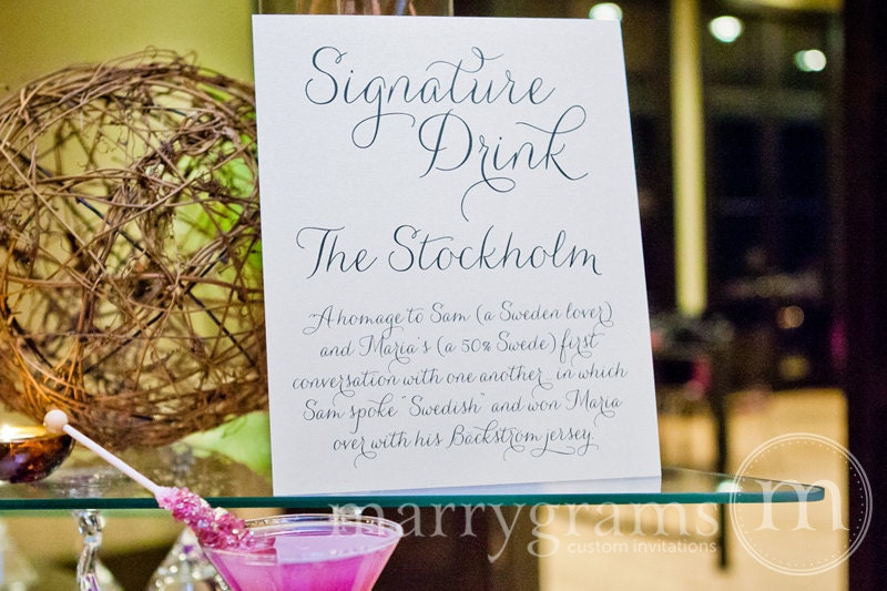 Signature drink sign cocktail bar custom drinks by marrygrams for Table 52 drink menu