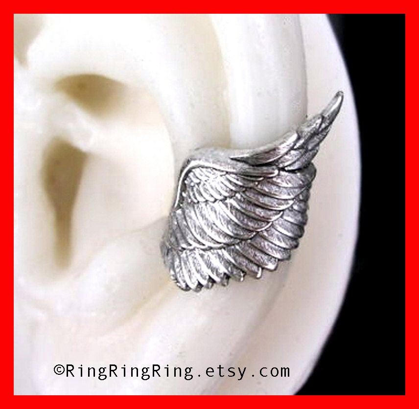 Angel wing ear cuff earring jewelry in slight antiqued silver, Archangel style 1, Earcuff for men and women, Birthday gift
