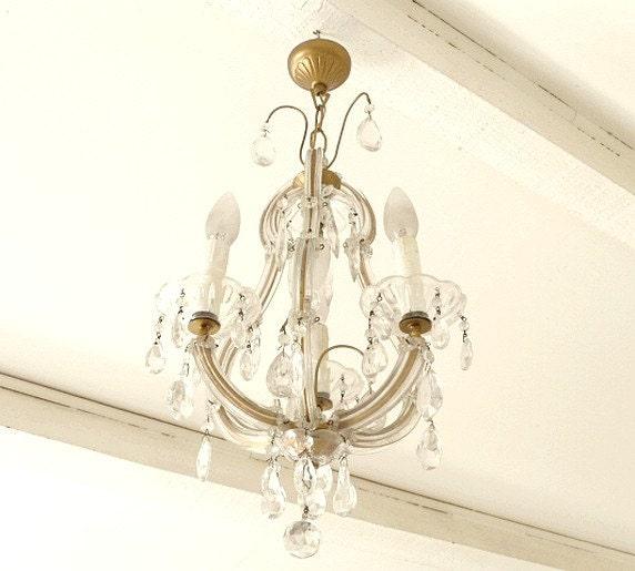 antique french 3 branch crystal drop chandelier by. Black Bedroom Furniture Sets. Home Design Ideas