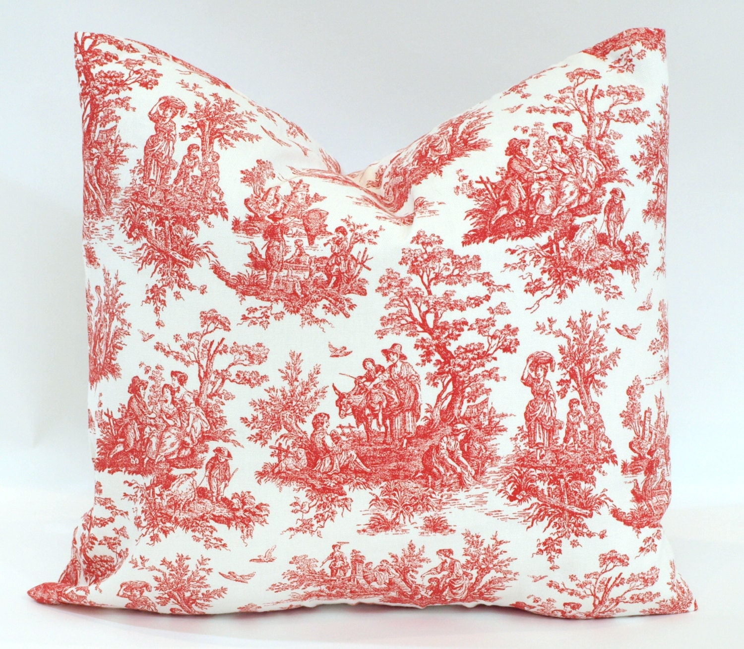holiday toile decorative throw pillows red by. Black Bedroom Furniture Sets. Home Design Ideas