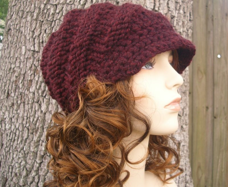 Hand Knit Hat Womens Hat - The Swirl Beanie with Visor in Oxblood Wine - Winter Fashion Winter Accessories Chunky Knit