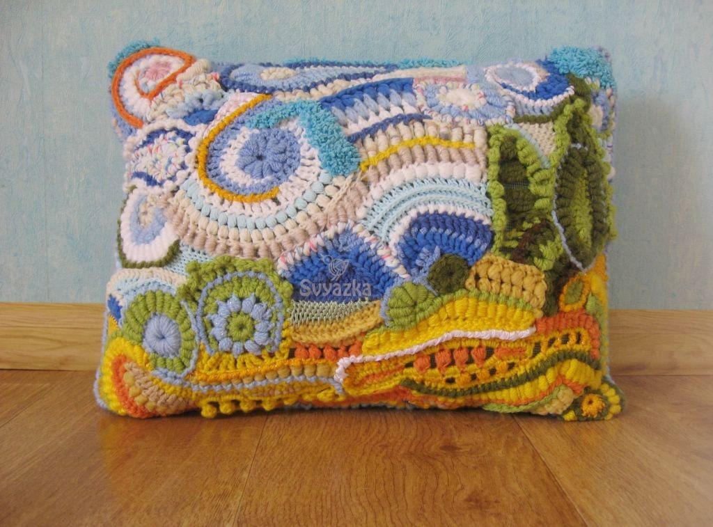 OOAK вязание крючком свободной форме ART наволочку Ван Гог Пшеничное поле с кипарисами