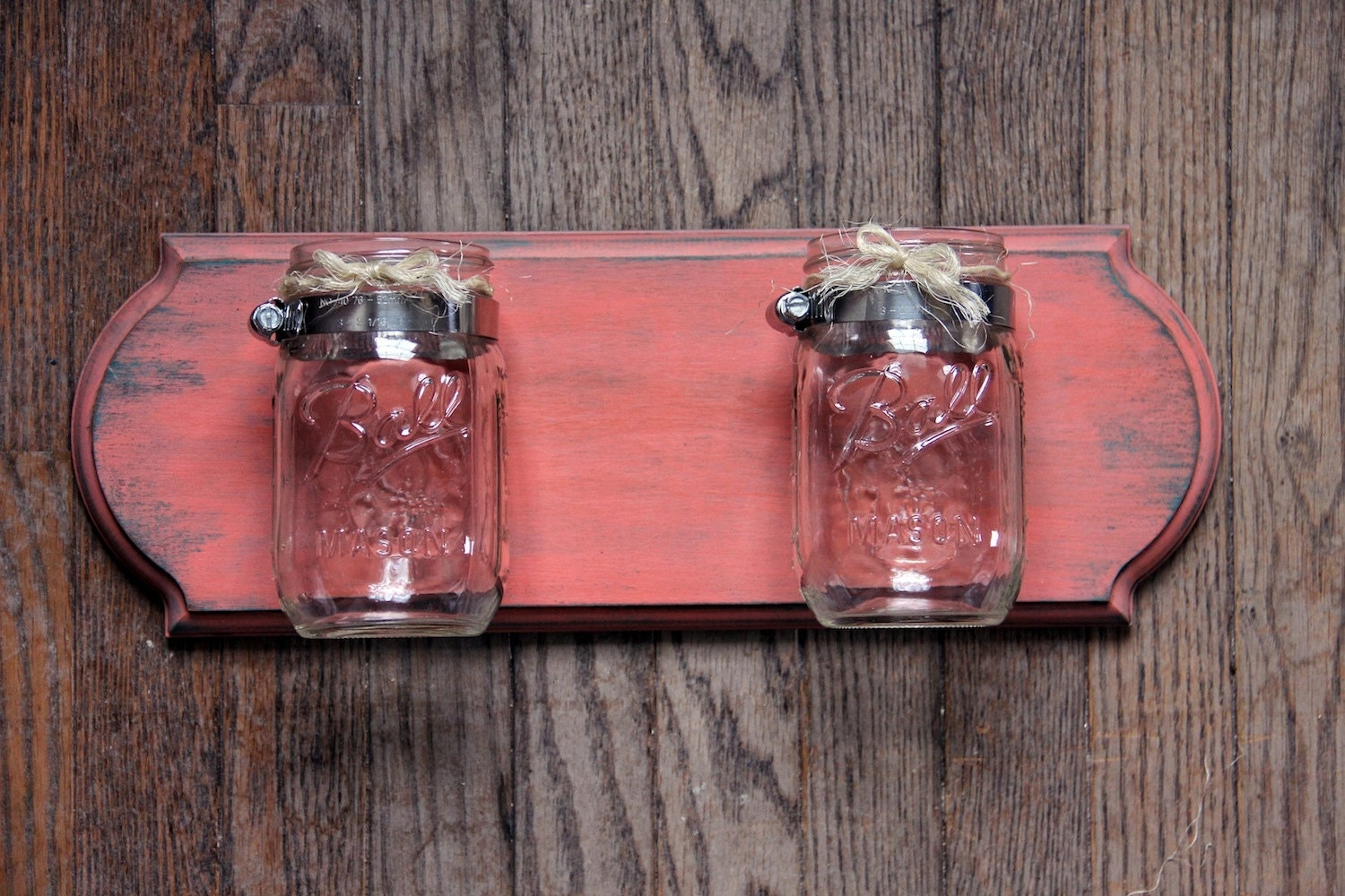 Shabby Chic  Mason Jar Wall Shelf Storage - Salmon and Teal