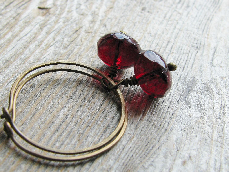 Beaded Hoop Earrings Cranberry Rondelles Brass Sleeper Hoops Minimalist Modern Simple - KateeMarie
