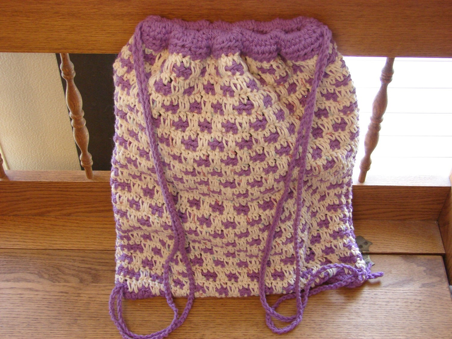 Crochet Drawstring Bag : Crochet Cotton Pastel Color Drawstring Bag or Backpack