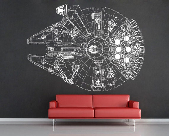 Millennium Falcon V 3 Vinyl Wall Art Decal Wd0299 By Tapong