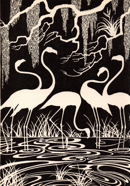 1941 Don BLANDING Original Art Deco Vintage Print FLAMINGOS