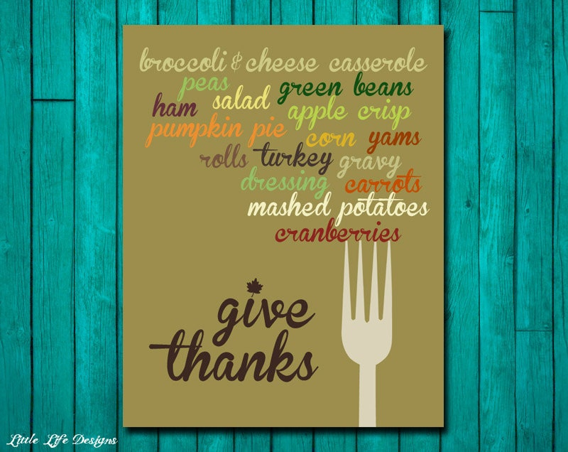 Thanksgiving Food. Give Thanks. Thanksgiving Decor. Dining Room Decor. Thanksgiving Sign. Kitchen Decor. Thanksgiving Wall Art. Fall Decor.