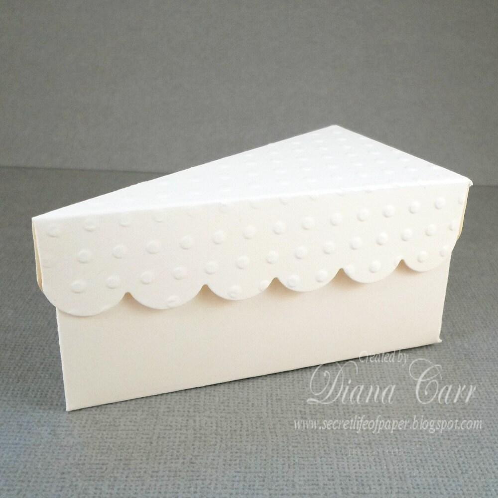 items similar to ivory wedding favor cake box paper slice of cake party favor on etsy. Black Bedroom Furniture Sets. Home Design Ideas