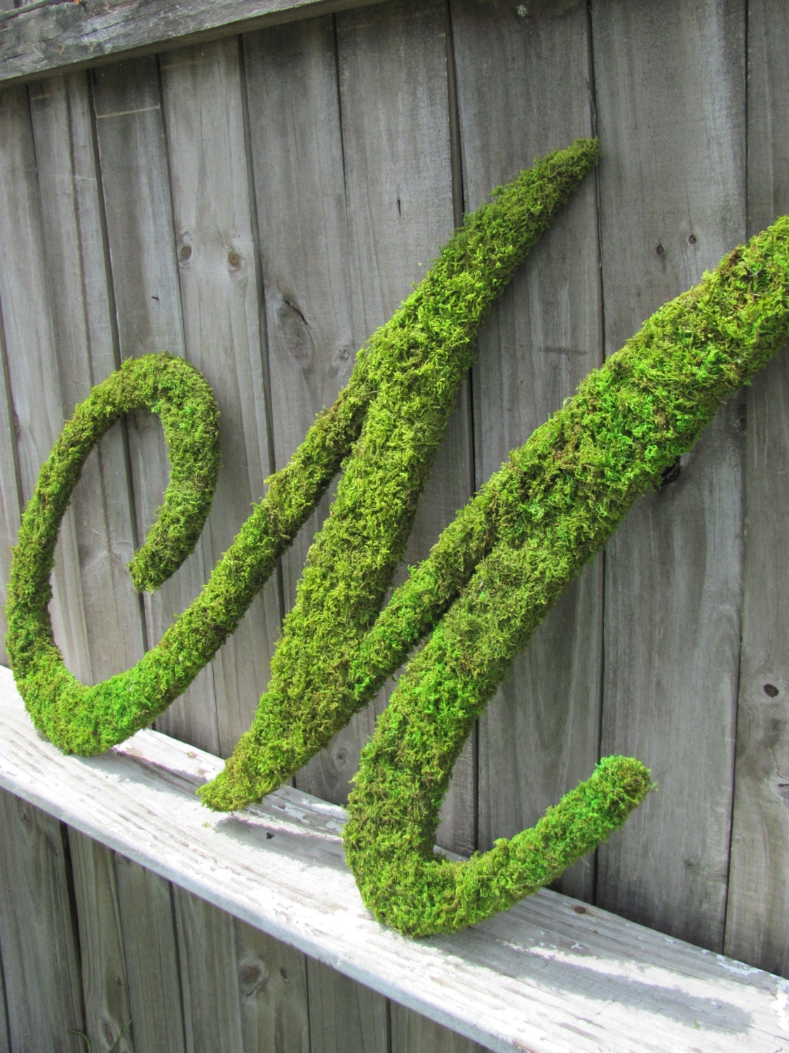 large moss covered letter m rustic wedding sign by With large moss letters