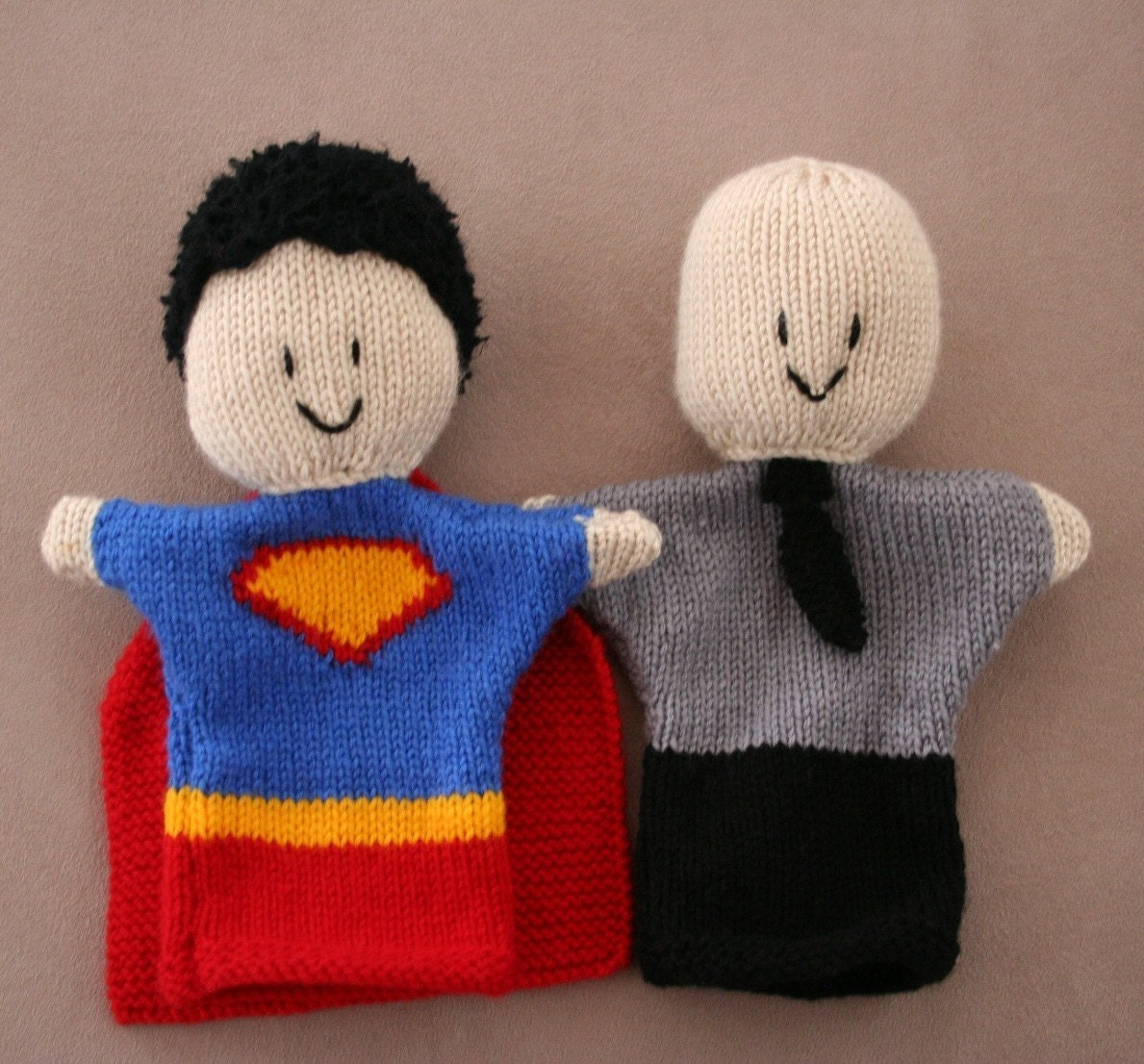 Puppet Gloves Knitting Pattern : Glove Puppet Knitting Pattern Superman and Lex by kooklacreations