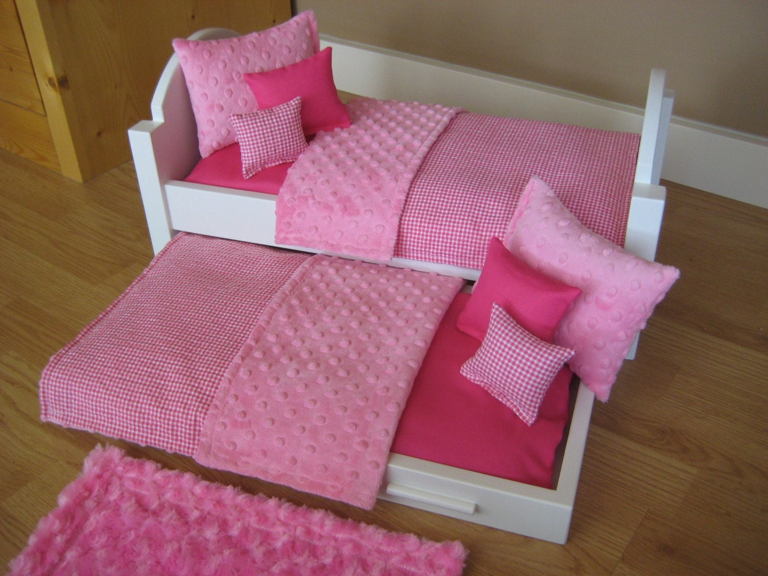 American Girl Doll Bed Trundle Bed 18 inch Doll Furniture with Pink ...