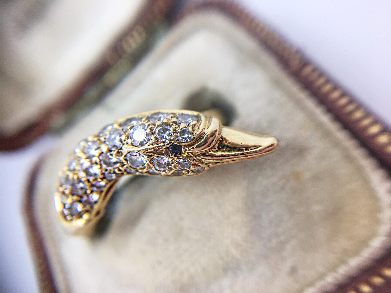 Natalie  Swan Head Vintage Ring in 18k Gold  Diamond Birthday Gift Unusual Engagement Ring Animal Jewelry Alternative Anniversary Present