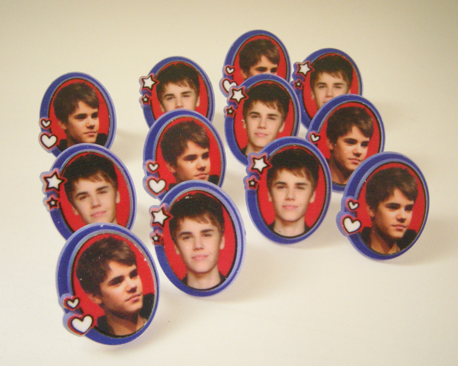 Justin Bieber Cupcake Ring Toppers - set of 12