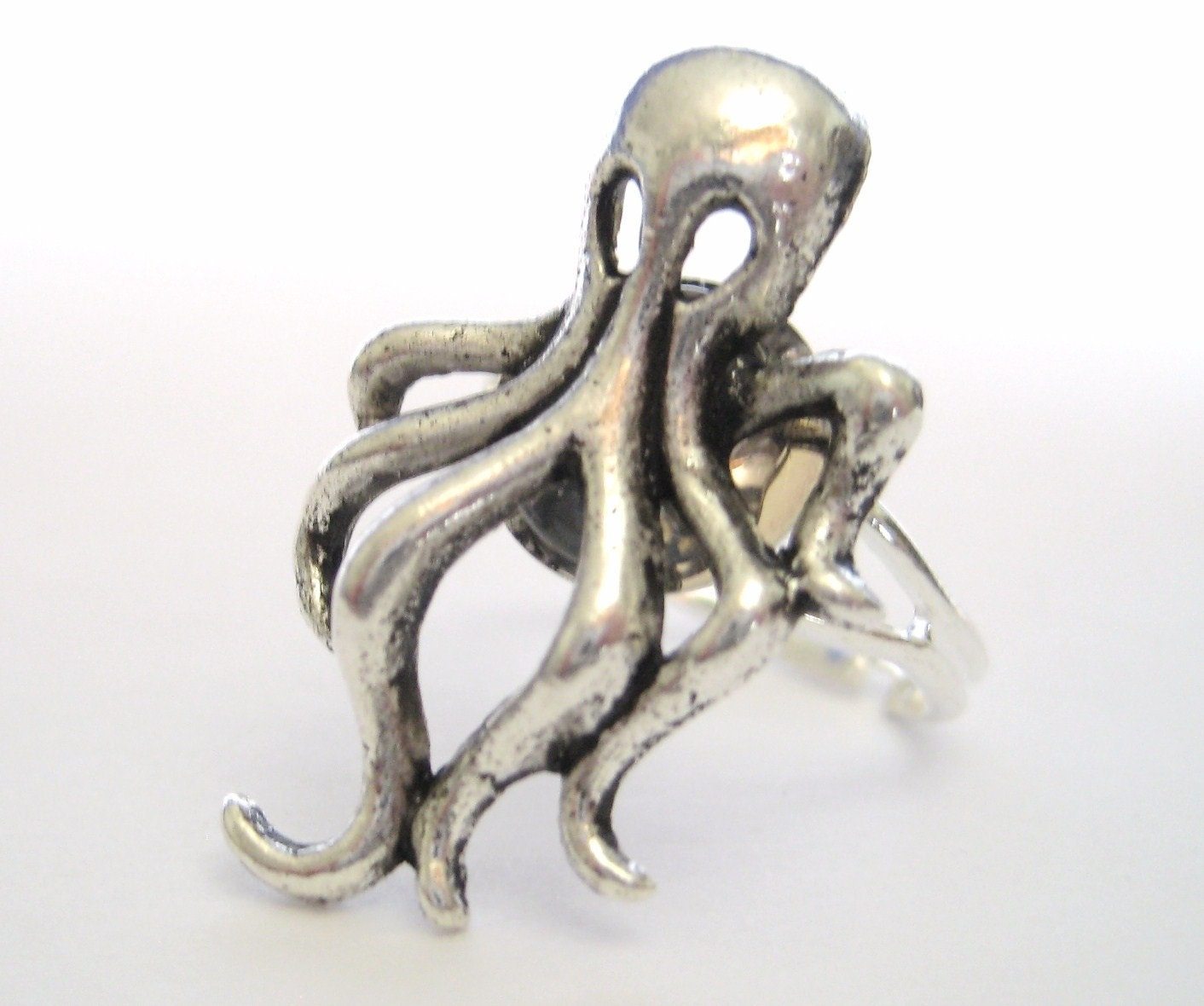 silver octopus ring octopus jewelry nautical by