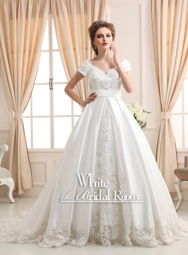 Princess Modest Wedding Dress Satin Lace By Thewhitebridalroom
