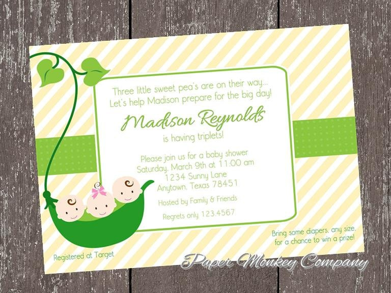 sweet pea baby shower invitation great for triplets or twins 1