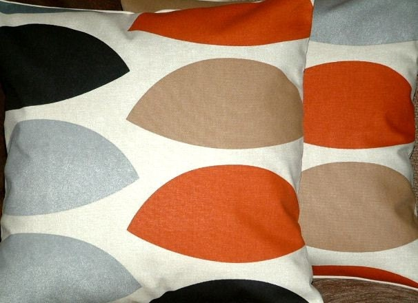 Pair Of New 16 inch Rust Red Brown Grey by MARIESCOSYCUSHIONS