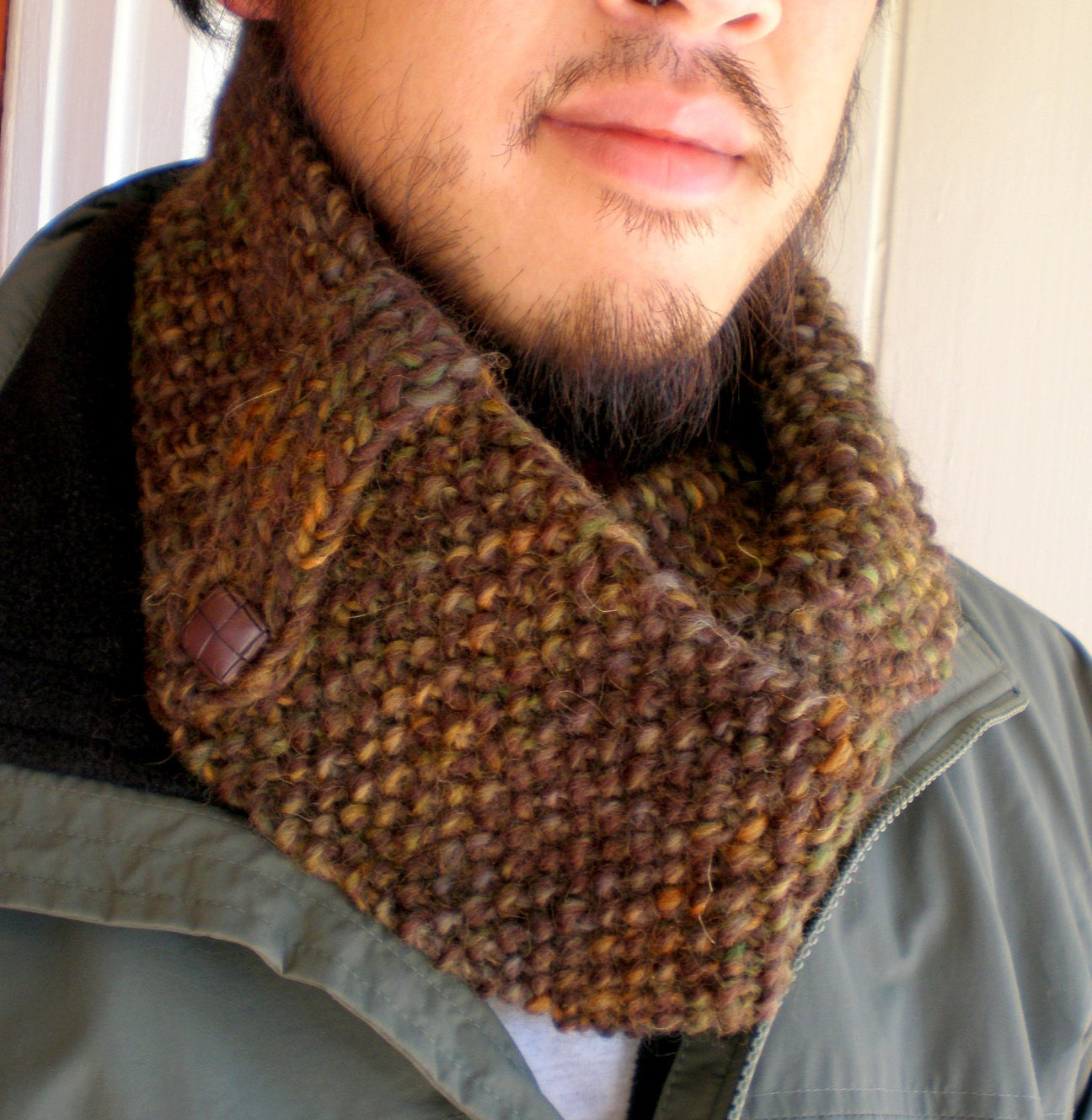 Hand Knit Mens Infinity Scarf  Wool Circle  Unisex  Brown  Green  Hand Knitted Men's Scarves
