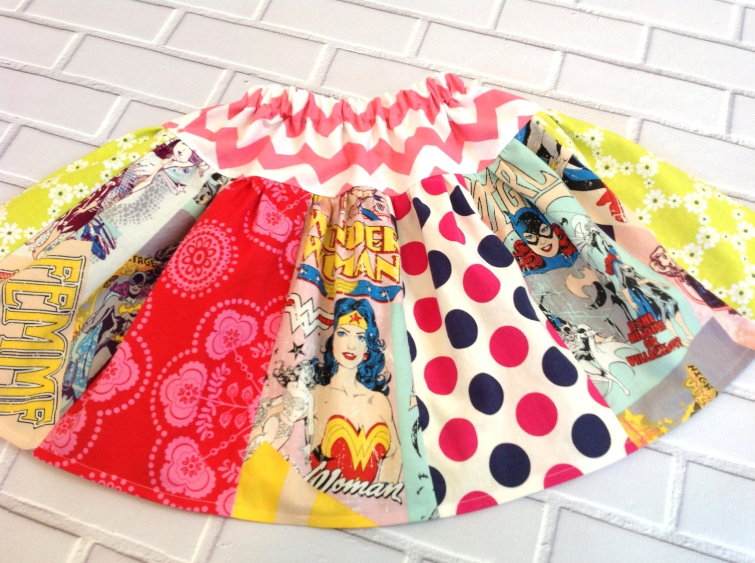 Girls Superhero Skirt Batgirl Wonder Woman Skirt Pink Chevron Boutique Clothing By Lucky Lizzy's - LuckyLizzys