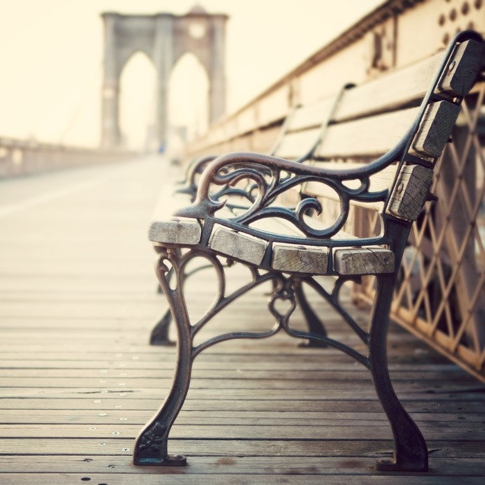 New York Art, Bench on Brooklyn Bridge, NYC Photography, Urban, Romantic, Fine Art Print - The last time I saw you - EyePoetryPhotography
