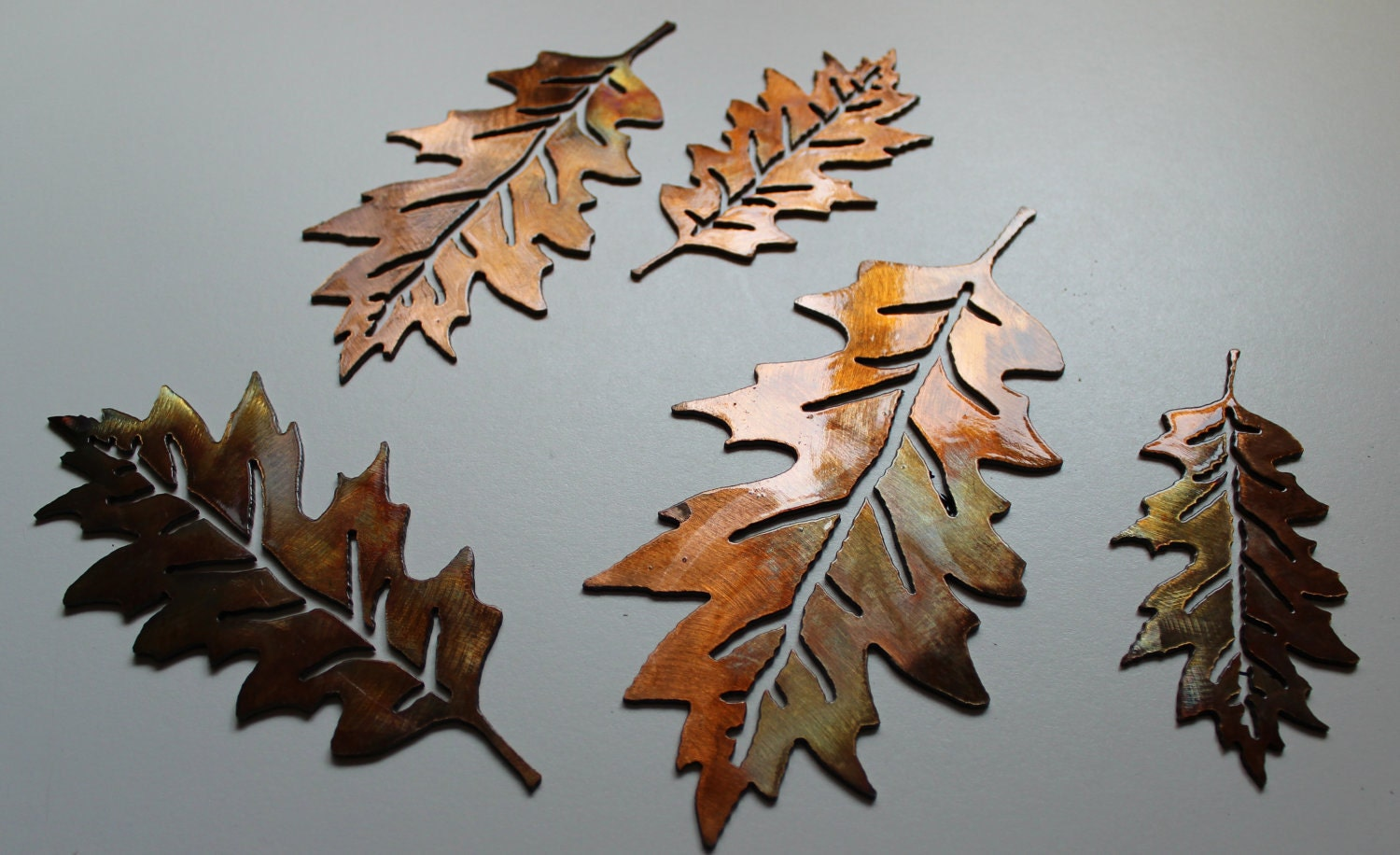 Metal wall art veined oak leaves set of 10 by for Metal leaf wall art