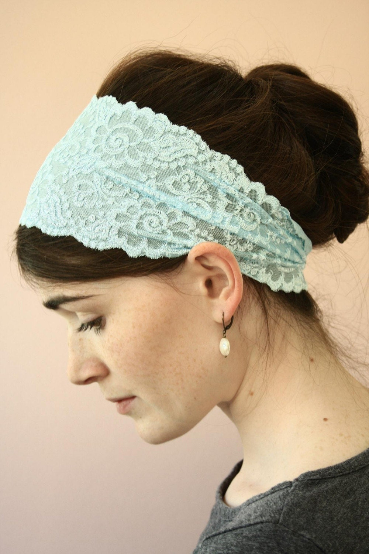 Sky BLUE stretch LACE Headband  hair wrap head band