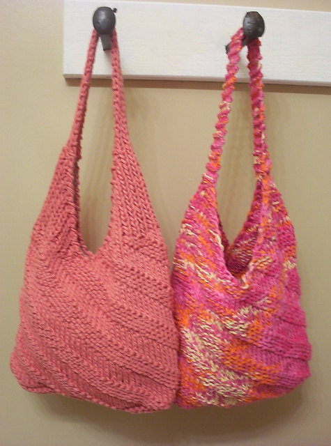 Hippie Cotton Shoulder Bag Knitting Pattern by hotflashknitting