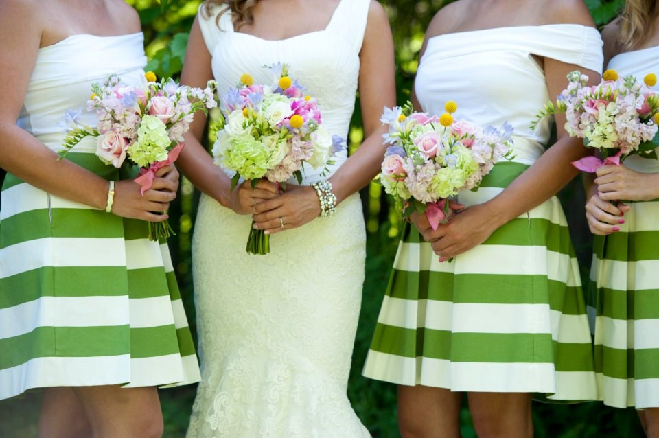 Green Striped Bridesmaid Skirt