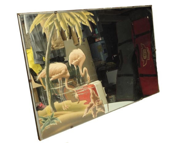 Vintage Pink Flamingo Mirror Wall Hanging Signed By
