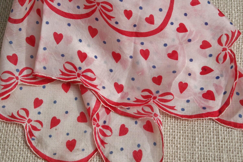 Vintage Valentine Hankie Red Hearts Blue Polka Dots - pixiedustlinens