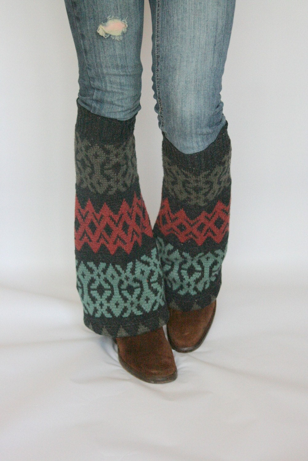Upcycled Recycled Repurposed Sweater Leg Warmers Ikat Charcoal Teal Taupe Ruby